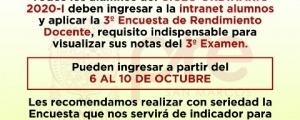 CICLO ORDINARIO 2020-I - TERCERA ENCUESTA DE RENDIMIENTO DOCENTE