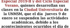 SUSPENSIÓN DE CLASES EN LA CIUDAD UNIVERSITARIA