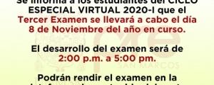 COMUNICADO - TERCER EXAMEN CICLO ESPECIAL 2020-I