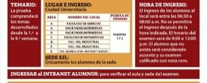 SEGUNDO EXAMEN CICLO ESPECIAL VERANO 2019-2020- TEMARIO, PUERTAS DE INGRESO, LOCALES, HORA DE INGRESO