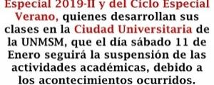 SUSPENSIÓN DE CLASES EN LA CIUDAD UNIVERSITARIA EL 11 DE ENERO