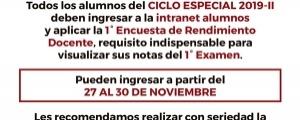 PRIMERA ENCUESTA DE RENDIMIENTO DOCENTE - CICLO ESPECIAL 2019-II