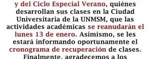 REANUDACIÓN DE CLASES LUNES 13 ENERO