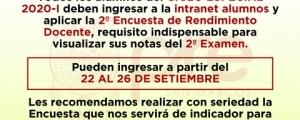 CICLO ESPECIAL 2020-I - SEGUNDA ENCUESTA DE RENDIMIENTO DOCENTE