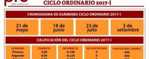 CONOGRAMA DE EXÁMENES CICLO ORDINARIO 2017-I