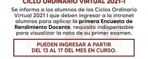 CICLO ORDINARIO 2021-I - PRIMERA ENCUESTA DE DOCENTES