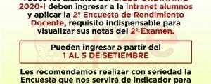 CICLO ORDINARIO 2020-I - SEGUNDA ENCUESTA DE RENDIMIENTO DOCENTE