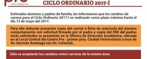CAMBIO DE CARRERA CICLO ORDINARIO 2017-I HASTA EL 13 DE MAYO DEL 2017