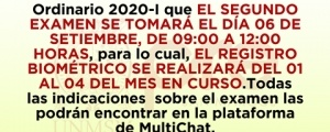 COMUNICADO - SEGUNDO EXAMEN CICLO ORDINARIO 2020-I