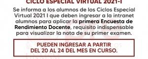 CICLO ESPECIAL 2021-I - PRIMERA ENCUESTA DOCENTE