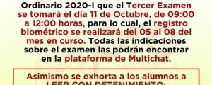 COMUNICADO - TERCER EXAMEN CICLO ORDINARIO 2020-I