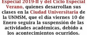 SUSPENSIÓN DE CLASES EN LA CIUDAD UNIVERSITARIA EL 10 DE ENERO