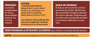 PRIMER EXAMEN CICLO ESPECIAL 2018-I - TEMARIO, LOCALES, FECHA Y HORA ENTRADA