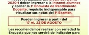 CICLO ESPECIAL 2020-I - PRIMERA ENCUESTA DE RENDIMIENTO DOCENTE