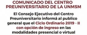 COMUNICADO - CIERRE INSCRIPCIONES CICLO ORDINARIO 2019-II