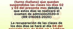 SUSPENSIÓN DE CLASES CICLOS ORDINARIO Y ESPECIAL TURNO MAÑANA