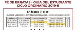 FE DE ERRATAS - CICLO ORDINARIO 2019-II