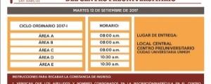 ENTREGA DE CONSTANCIAS A INGRESANTES DEL CICLO ORDINARIO 2017-I