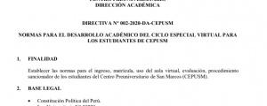 NORMAS PARA EL DESARROLLO ACADÉMICO DEL CICLO ESPECIAL VIRTUAL