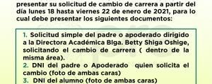 CAMBIO DE CARRERA CICLO ESPECIAL VIRTUAL 2020-II
