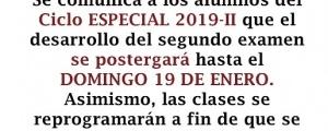POSTERGACIÓN SEGUNDO EXAMEN CICLO ESPECIAL 2019-II